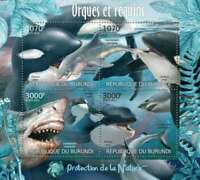 Burundi - Orcas and Sharks on Stamps - 4 Stamp  Sheet 2J-308
