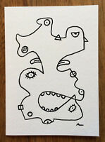 Abstract Art Drawing On Greeting Card Notecard To Frame Picasso Print Home Decor