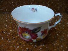 Ridgway Potteries Queen Anne Bone China Coffee Mug Tea Cup Red Floral Patt. 8293