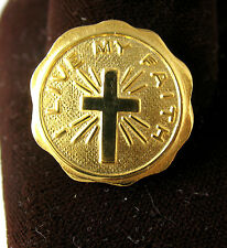 "Catholic PIN ""I LIVE MY FAITH"" Junior Girl Scout Sunday Beautiful Goldtone EUC"