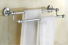 Chrome Brass Finish Double Towel Rails Bathroom Accessory Wall Mounted qba802