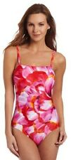 New GOTTEX swimsuit tummy control 10 bandeau red pink orange $178 floral Israel