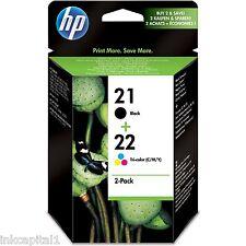 HP No 21 & 22 Black & Colour Original OEM Cartridges C9351AE C9352AE Deskjet