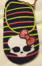Monster High Slipper Socks Girls Shoe Size 7.5-3.5 Red Black Green Stripe