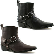 MENS GRINGOS COWBOY LEATHER ANKLE BOOTS SIZE UK 6 - 12 BLACK OR BROWN M940 KD