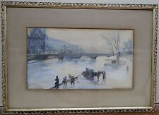 19c. Watercolor with Paris View by Listed American Artist J. Ernest Galvan