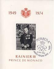 BLOC TIMBRE DE MONACO OBLITERE N° 8 RAINIER III PRINCE DE MONACO