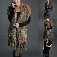 Noble Real Knitted Rabbit Fur Scarf Shawl Cape Wrap Stole Poncho Sweater Coat