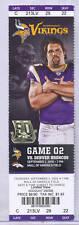 Minnesota Vikings Denver Broncos 9/2/10 Full Unused NFL Ticket Steve Hutchinson