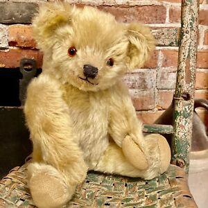 """15"""" AMERICAN ANTIQUE 1930/40s GOLD MOHAIR TEDDY BEAR, GREAT MUZZLE - AUCTION"""