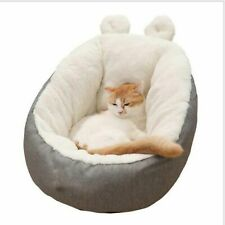 Soft Grey Dog Bed Pet Cat Calming Bed Warm Round Sofa Cushion for Crates cat