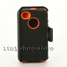 iPhone 4s 4 Defender Shockproof Hard Shell Case w/Holster Belt Clip Black Orange
