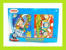 12 Thomas & Friends Trains Cartoon Christmas Cards with Envelopes Set +FREE GIFT
