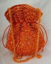 Unbranded Evening Purse Orange Beaded Pull String