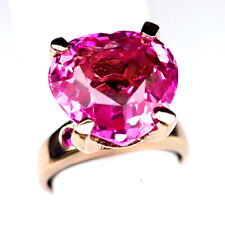 TOPAZ PINK HEART 16.90 CT. RUBY 925 STERLING SILVER ROSE GOLD RING SZ 7 WOMEN