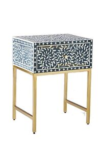 Bone Inlay Bedside Table Floral Design in Blue Color Home Decor With insurance