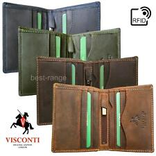 Mens RFID Wallet Real Leather Cards & Notes Bifold Slim Visconti 705