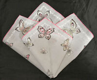 vintage handkerchief BUTTERFLY PRINT HANKY sweet SHABBY COTTAGE CHIC unused
