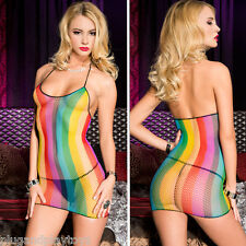 Sexy Sheer Rainbow Stripe Pride Fishnet Mini Halter Dress Clubwear Rave Bodycon