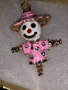 Betsey Johnson Necklace Scarecrow Pink  White Gold Scarecrow With  Crystals