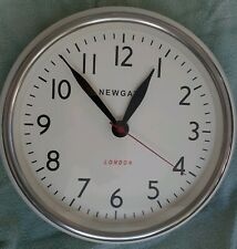 West Elm Newgate London Cookhouse Wall Clock chrome & white - NEW