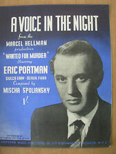 VINTAGE SHEET MUSIC - A VOICE IN THE NIGHT - From WANTED FOR MURDER