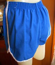 "Medium 26W 26"" True Vtg 80s Blue Piped Elastic Waist Womens Gym Class Shorts"