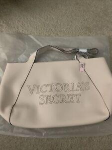 Womens VICTORIA SECRET tote Bag New Tan straps nice vinyl logo