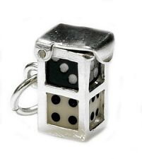 STERLING SILVER BLACK & WHITE DICE IN CASE CHARM