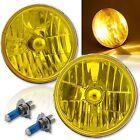 7 H60246014 Yellow Amber Crystal Glass Headlight H4 Halogen Fog Light Pair