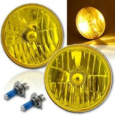"7"" H6024/6014 Yellow Amber Crystal Glass Headlight H4 60w Halogen Fog Light Pair"