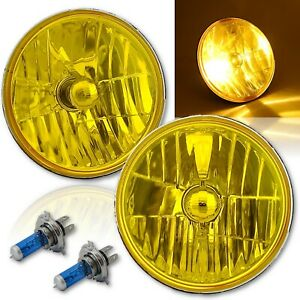 "7"" H6024/6014 Yellow Amber Crystal Glass Headlight H4 Halogen Fog Light Pair"