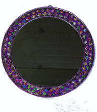 Miroir Indien Rond Mural Paillettes Bollywood Ø=24cm 100% Artisanat Inde 1V