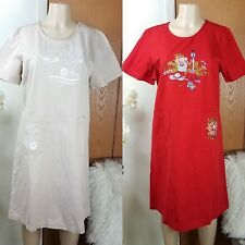 Blair Dress Womens Size Medium M Red Tan Embroidered Floral Fish Short Sleeve