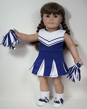 """3pc BLUE Cheer Cheerleader Doll Clothes Pom-Poms For 18"""" American Girl (Debs)"""