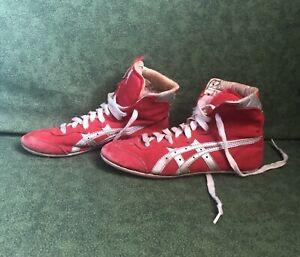 Asics 1980's Dan Gable Tiger Wrestling Shoes Size 6 Vintage Red/Silver RARE