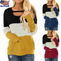 Women's Long Sleeve Tunic Top Casual Crew Neck Loose Fit Basic T-Shirt Blouse US