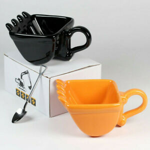 Single Excavator Bucket Cup Hand Ceramic Tea Coffee Funny Mug Shovel With Spoon