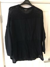 Topshop Black Knitted Jumper Size 8 Mesh Netted