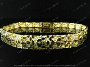 Men's and Ladies 14K Yellow Gold Over Nugget Style Link Designer 8 Inch Bracelet