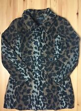 Via Spiga Women's Leopard Print Wool Blend Coat Size 4 Small Mid Length Jacket