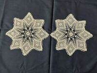 ANTIQUE Beautiful Vintage PAIR of Cotton Crocheted Lace DOILIES Handmade Ivory