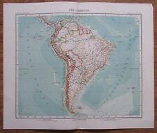 Südamerika - alte Landkarte aus 1906 Stielers Handatlas antique map