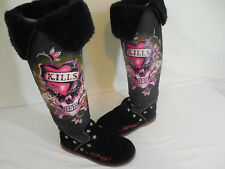 Ed Hardy Tall Boots womens size 7 black Love Kills Slowly faux fur suede stars