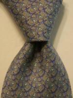 BROOKS BROTHERS Country Club Men's 100% Silk XL Necktie EQUESTRIAN Gray/Blue EUC
