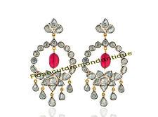 Victorian Ruby Earrings Polki Diamond 2.88ctw Art Deco Latest Design 925% Silver