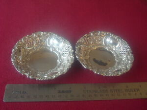 Pair of Silver hallmarked Bon Bon dishes with pierced decoration Chester 1897