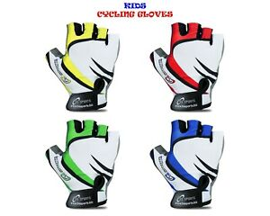 CHILDREN KIDS BOYS GIRLS PADDED CYCLING GLOVES BMX BIKE CYCLE BICYCLE NEW GLOVES
