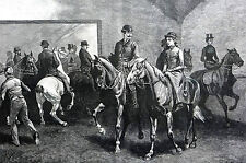 Equestrian Scene 1891 FIRST LESSON Side Saddle HORSE RIDING SCHOOL Matted Print