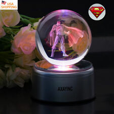 Justice League Superman 3D LED Decor Crystal Night Light Desk Lamp Xmas Gift